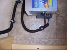 inverter area close up, wires wrapped