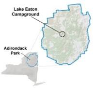 lake eaton on NY map, with blue line